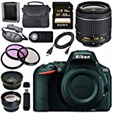 Nikon D5500 DSLR Camera with AF-P 18-55mm VR Lens (Black) + Sony 128GB SDXC Card + Carrying Case Bundle For Sale