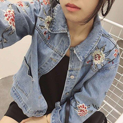 Mujer Bordado Otoño Bordado Mezclilla Chaqueta De Los Pantalones Vaqueros de Abrigo Denim Jacket Ligero Azul