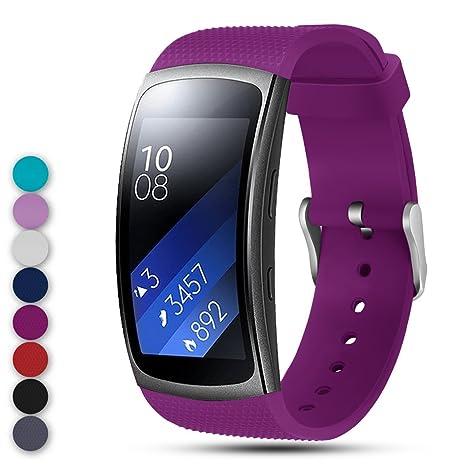 Feskio - Correa de Repuesto para Samsung Gear Fit2 Pro/Fit2 SM-R360, Correa de Silicona Suave, Pulsera Deportiva para Samsung Gear Fit2 Pro y Fit 2 ...