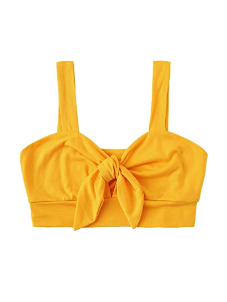 66bb4a443a SheIn Women's Cute Cotton Knot Front Backless Plain Crop Tank Top Bralette  at Amazon Women's Clothing store: