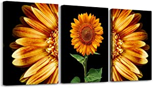Black and white scenery yellow sunflower Canvas Prints Wall Art for Living Room kitchen Wall Artworks Bedroom Decoration, 3 piece Home bathroom Wall decor posters flowers Pictures wall painting