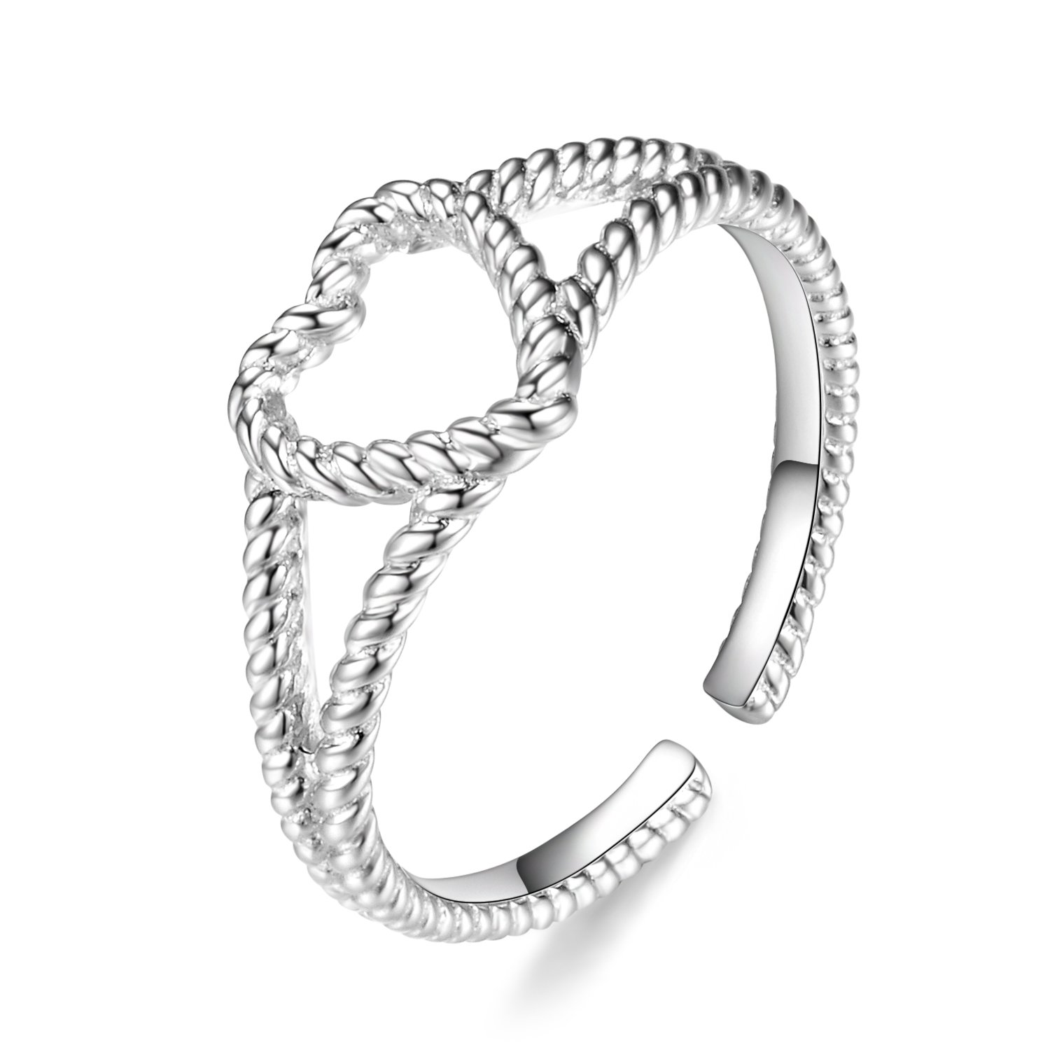 Sterling Silver Eternity Rope Ring Resizable Twisted Love Heart Wedding Anniversary Valentine Promise Rings Women, Size 6.5