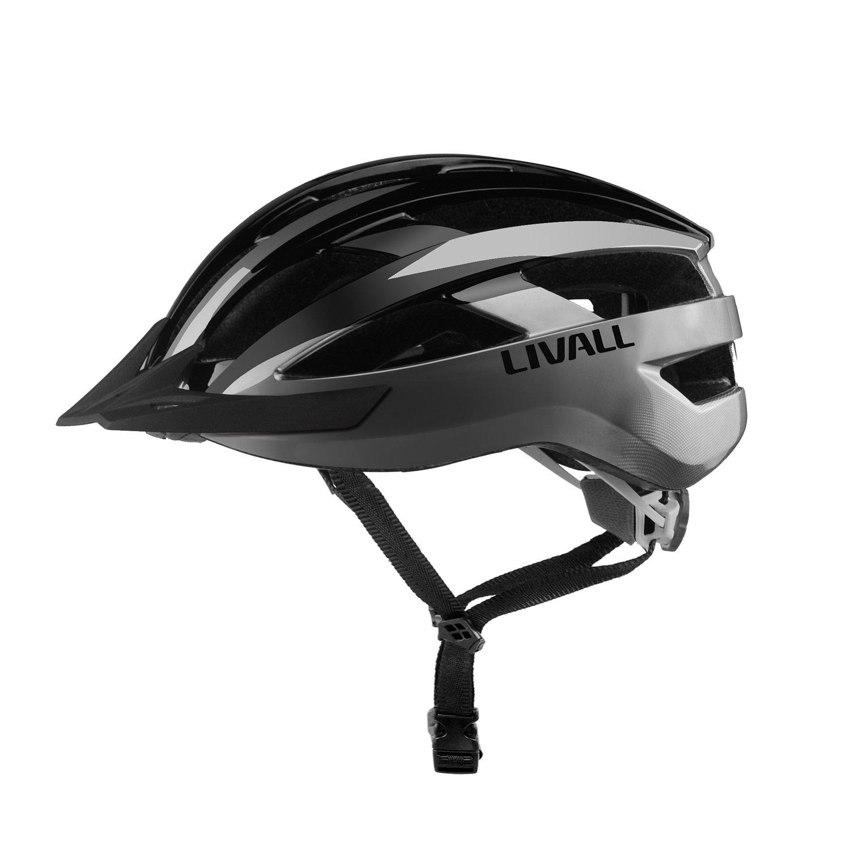 Livall MT1, smarter Fahrradhelm mit kabelloser Lenker-Fernbedienung für Abbieg-Signal hinten und an den Seiten, integriertem Mikrofon, und Blautooth-Lautsprecher, schwarz   grau, M