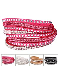 U7 Jewelry Fashion Genuine Leather Wrap Wristband Rhinestone Multilayer Bracelet Bangle