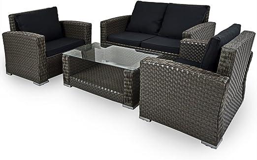 Set de muebles de jardín tipo lounge compuesto por una mesa dos sillones y un banco con 4 cojines terraza jardín patio: Amazon.es: Jardín