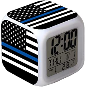 7Colors LED Changing Digital Alarm Clock Desk Thermometer Night Glowing Cube LCD Clock Home Decor Police Thin Blue Line American Flag