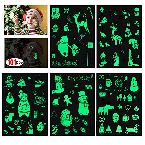 - Konsait Christmas Glow in the Dark Tattoos(101pcs) Kids Luminous Christmas Holiday Cartoon Temporary Tattoo Stickers for Boys Girls Stockings Stuffers Goody Filler for Xmas Party Favor Supplies