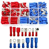 Electrical Terminals, 200PCS Crimp Connectors, Electrical Crimp Terminals with Mixed Insulated Terminal Set, Wire Connector Crimp Terminal Spade Ring Set