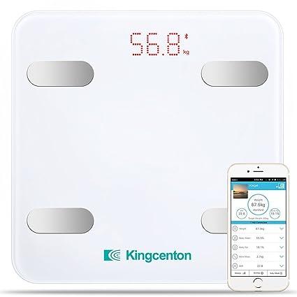 Kingcenton - Báscula digital de baño con Bluetooth y aplicación de iOS y Android, medición