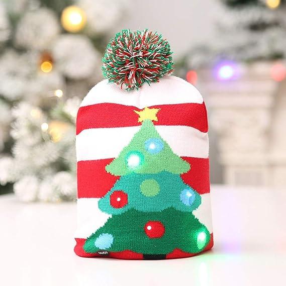 Amazon.com  1PCS Christmas Knit Hat LED Unisex Xmas Cap Colorful Beanies 3  Flashing Modes (Tree)  Home   Kitchen 051d3c28c831