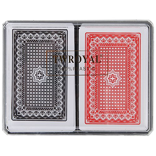 (Home-X Plastic Playing Cards, Waterproof Cards. Set of 2 Decks (1 Red and 1 Black) )