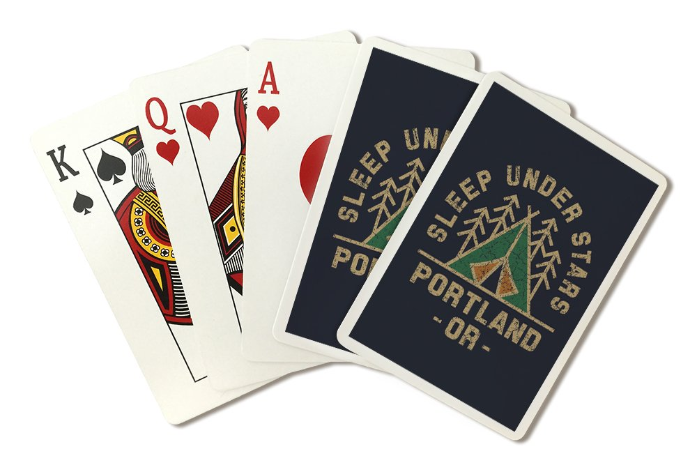 Portland, Oregon - Sleep Under the Stars - Camping Badge (Playing Card Deck - 52 Card Poker Size with Jokers)