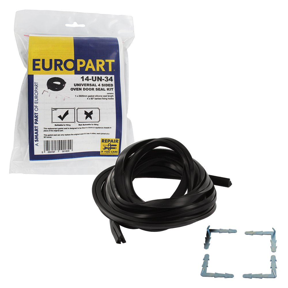 Europart Universal Retail Packed 4-Sided Silicone Rubber Oven Door Gasket Seal Kit Maddocks 14-UN-34