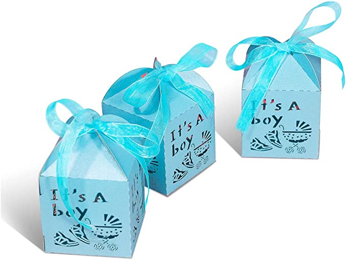 YOZATIA 50pcs Laser Cut Baby Carriage Favor Box Bomboniere Gift Candy Boxes Baby Shower Party Decoration,2.2 x 2.2 x 2.2 Inches(Blue)