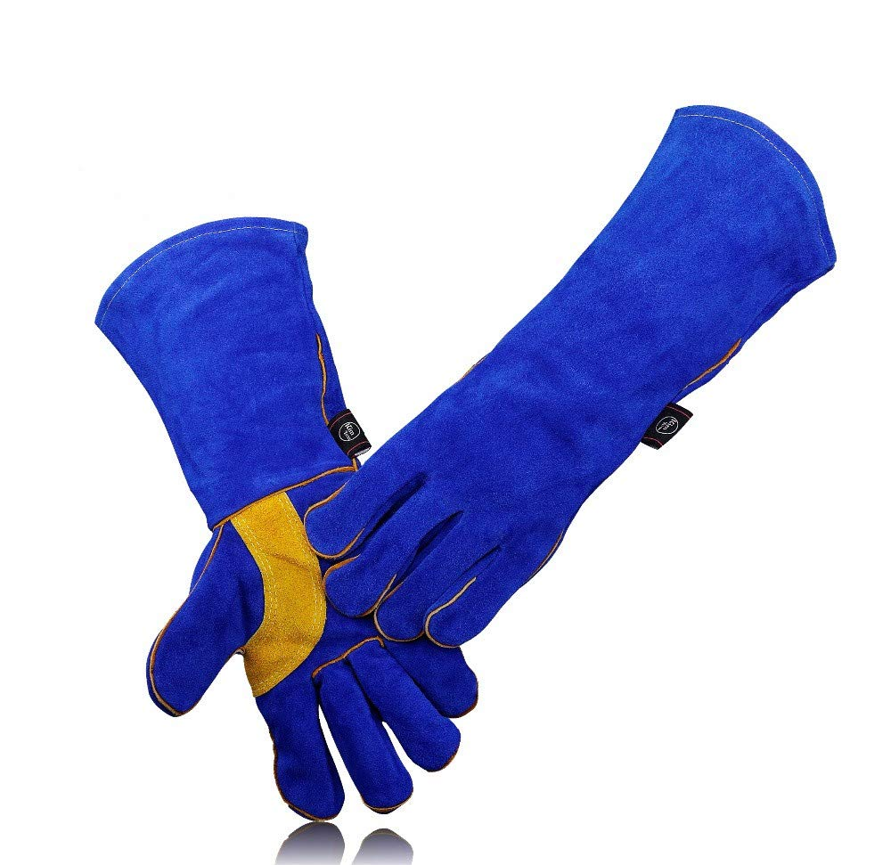 ZLF Leather Welding Gloves-Heat/Fire Resistant/for Welder/Oven/Fireplace/Animal Handling/BBQ -Blue