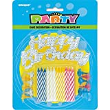 Assorted Striped Birthday Candles with Holders