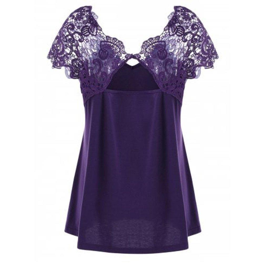 Women Short Sleeve Tunic Tops Plus Size Lace Splice Cut Back Sexy Casual Tank Blouse Tops (4XL, Purple)