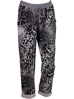 c9eaa2314dcd2 New Ladies Italian Animal Print Cotton Joggers Women Waist Belt Trouser  PlusSize