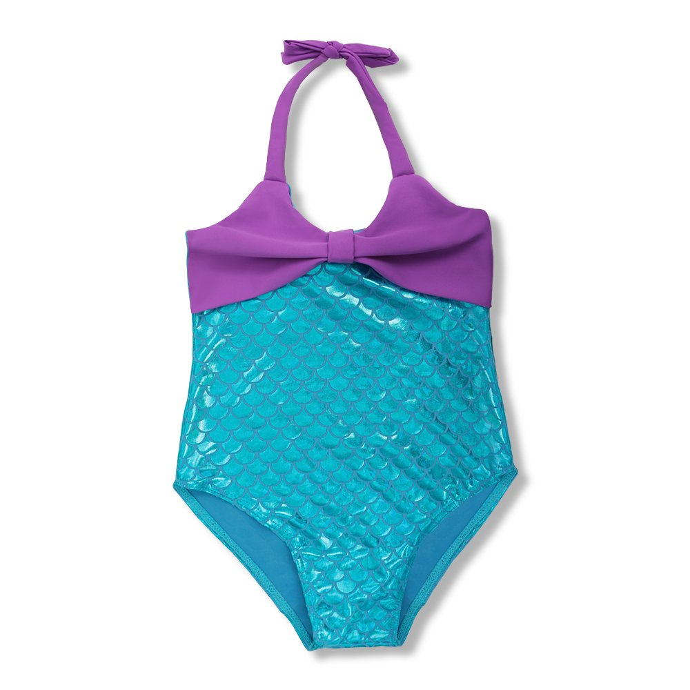 DAXIANG One-piece Kids Children Bling Bling Fish Scales Mermaid Bikini