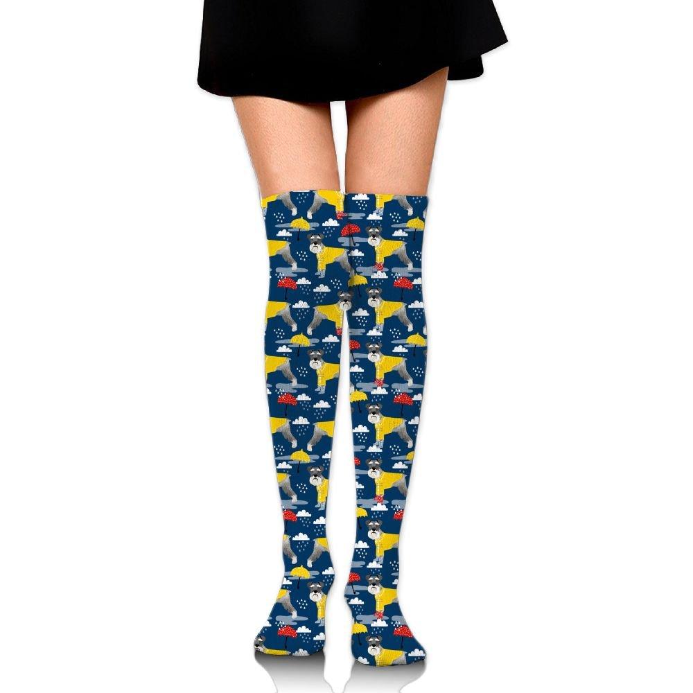 Women's Knee High Socks Fancy Design Multi Colorful Patterned Schnauzer Raincoat Dog Knee Socks