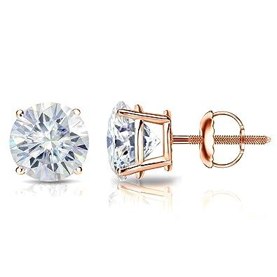 0120db954 Diamond Wish 14k Gold Round Moissanite Stud Earrings (1.00-7.00 TGW, J-K)  4-Prong Basket with Screw-Back Clasps