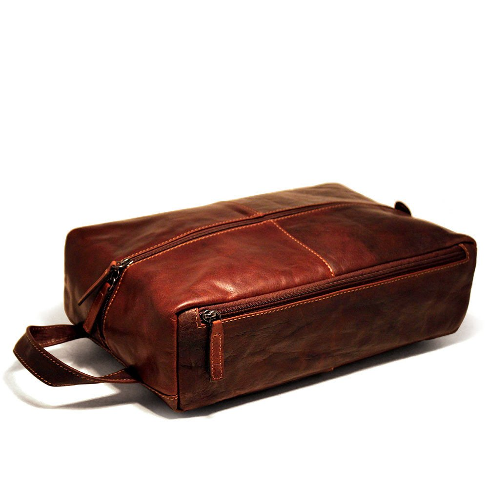 Jack Georges Voyager Shoe Bag / Large Leather Toiletry Bag, Travel Kit in Brown