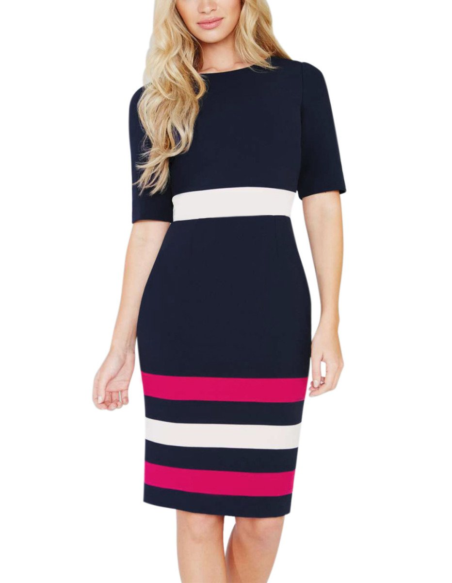 HELYO Casual Clothing for Women's O-Neck Half Sleeve Colorblock Wear to Work Pencil Dress 224 (M,Blue)