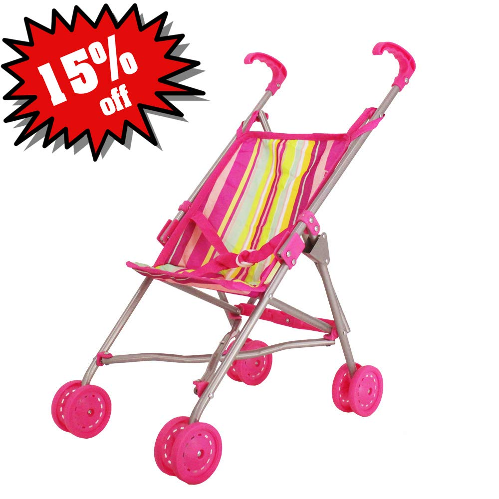 CUBY Doll Jogging Stroller Doll Pram Baby Toy Buggy Stroller Foldable with Umbrella Handle for Kids Silver