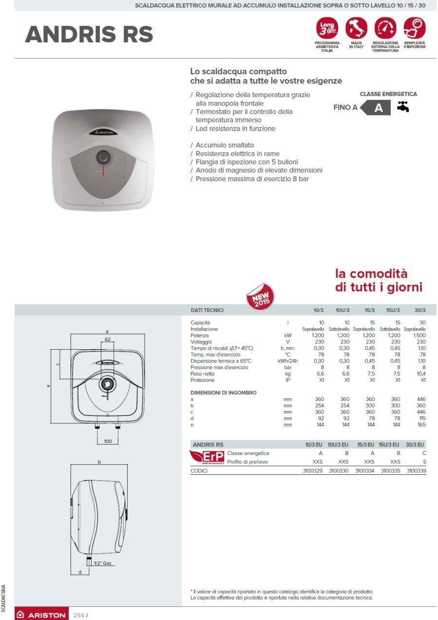 Ariston Thermo 3100339 calentador eléctrico Andris RS 30/3 ERP para ubicar arriba del fregadero, blanco: Amazon.es: Bricolaje y herramientas