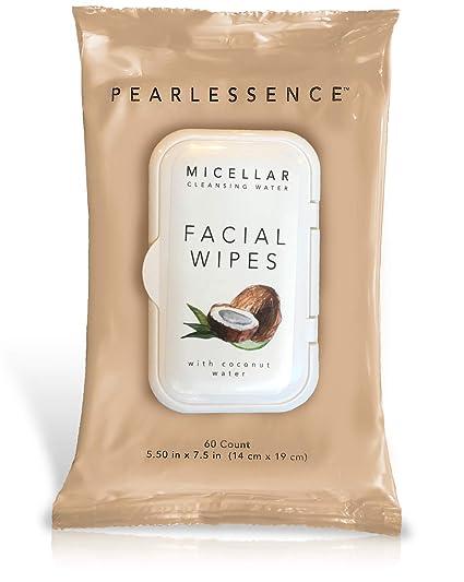 Pearlessence Micelar limpiadora de maquillaje facial Remover Toallitas W/Agua de Coco, 60 cuenta