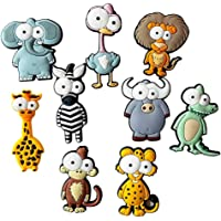 Coxeer 9PCS Fridge Magnet Cartoon Animals Whiteboard Magnet Fridge Sticker Early Educational Toy for Kids