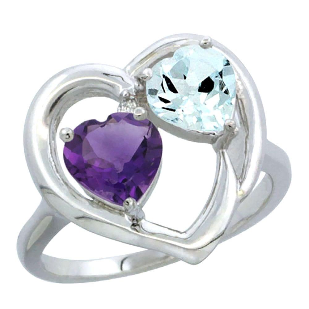 10K White Gold Diamond Two-stone Heart Ring 6mm Natural Amethyst & Aquamarine, size 6.5