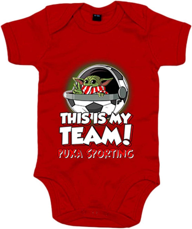 Blanco 6-12 meses Body beb/é parodia baby Yoda mi equipo de f/útbol Puxa Sporting