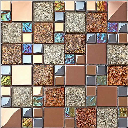 Rose Gold Mesh-Mounted Stainless Steel & Iridescent Glass Mosaic Tile,Foil Pattern Kitchen Backsplash Bathroom Wall Countertop decoration- LSDJ08 (1 Box of 10.76sq.ft)