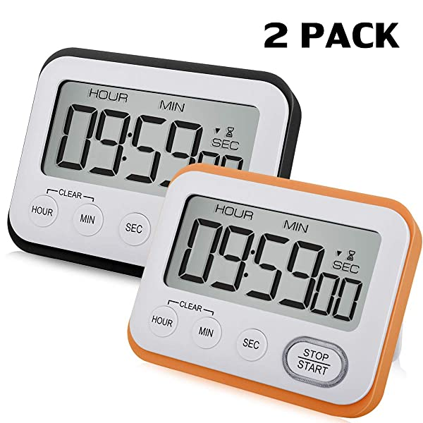 2 Pack Digital Kitchen Timer Magnetic Loud Alarm Clock, Large LCD Screen Silent/Beeping Multi-function for Teachers Kids(Black, Orange) (Color: Black+Orange)