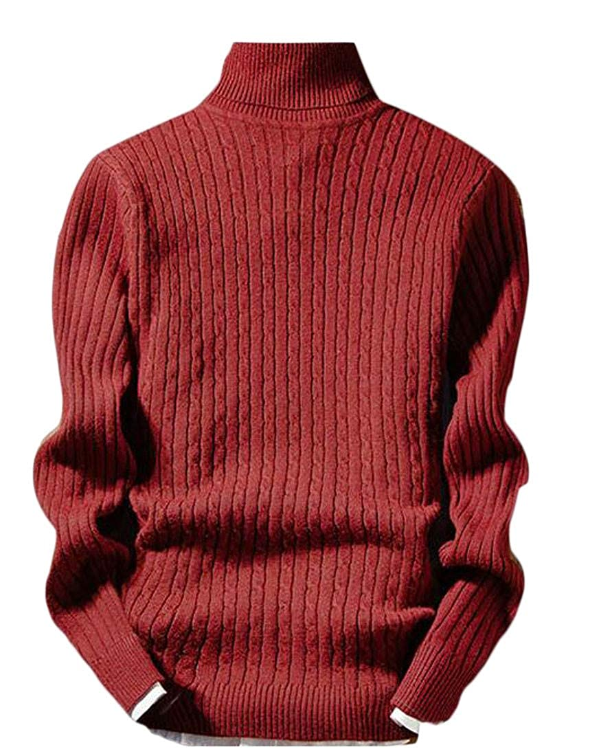 Blyent Men Stylish Long Sleeve Solid Knitted High Collar Pullover Sweaters