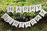 XADP White Happy Birthday Bunting Banner with
