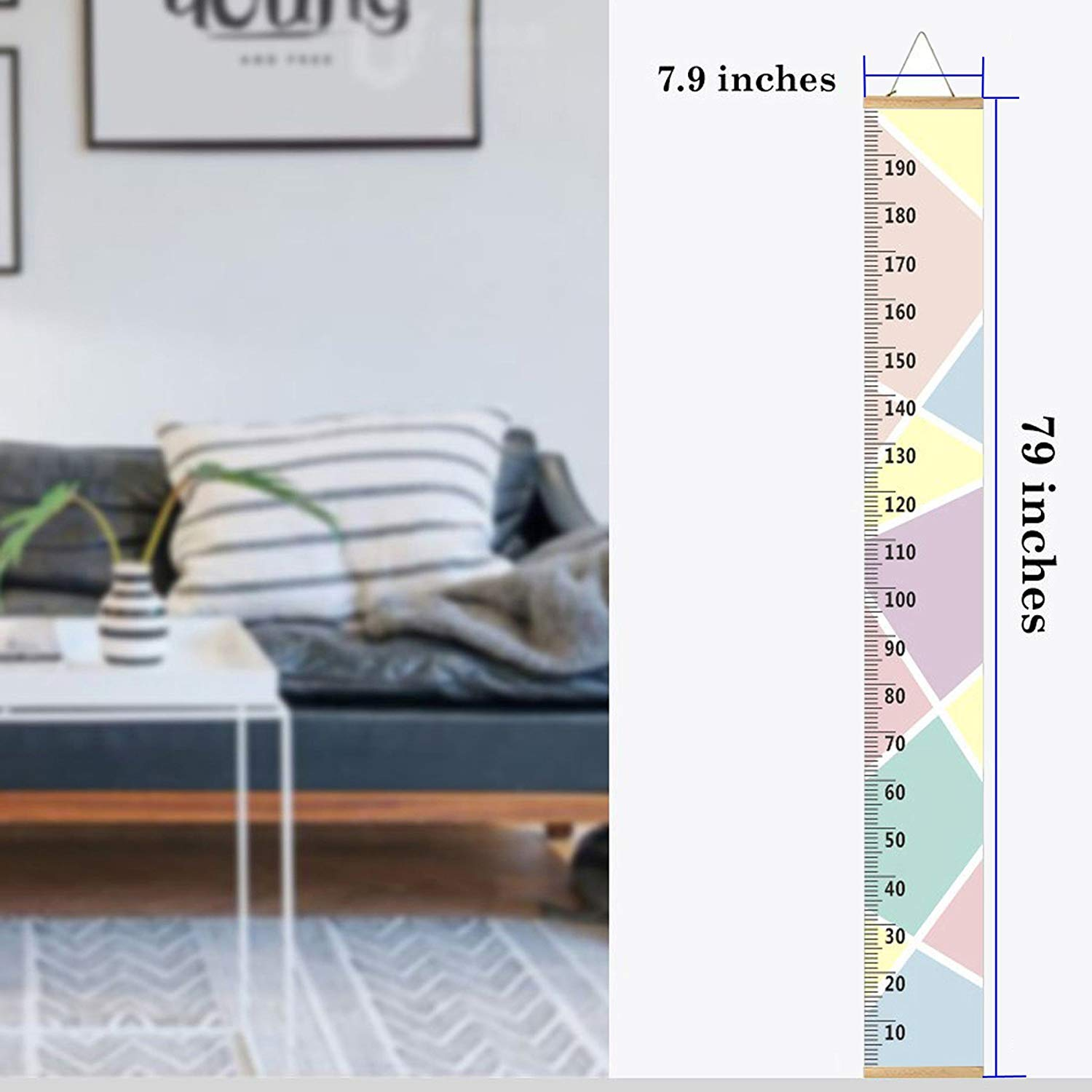 Flamingo Canvas Removable Height Growth Chart 79 x 7.9 Baby Growth Chart Handing Ruler Wall Decor for Kids