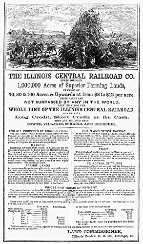 Posterazzi Land Sale Nland Offering Advertisement from The Illinois Central Railroad 1864. Poster Print by, (24 x 36)