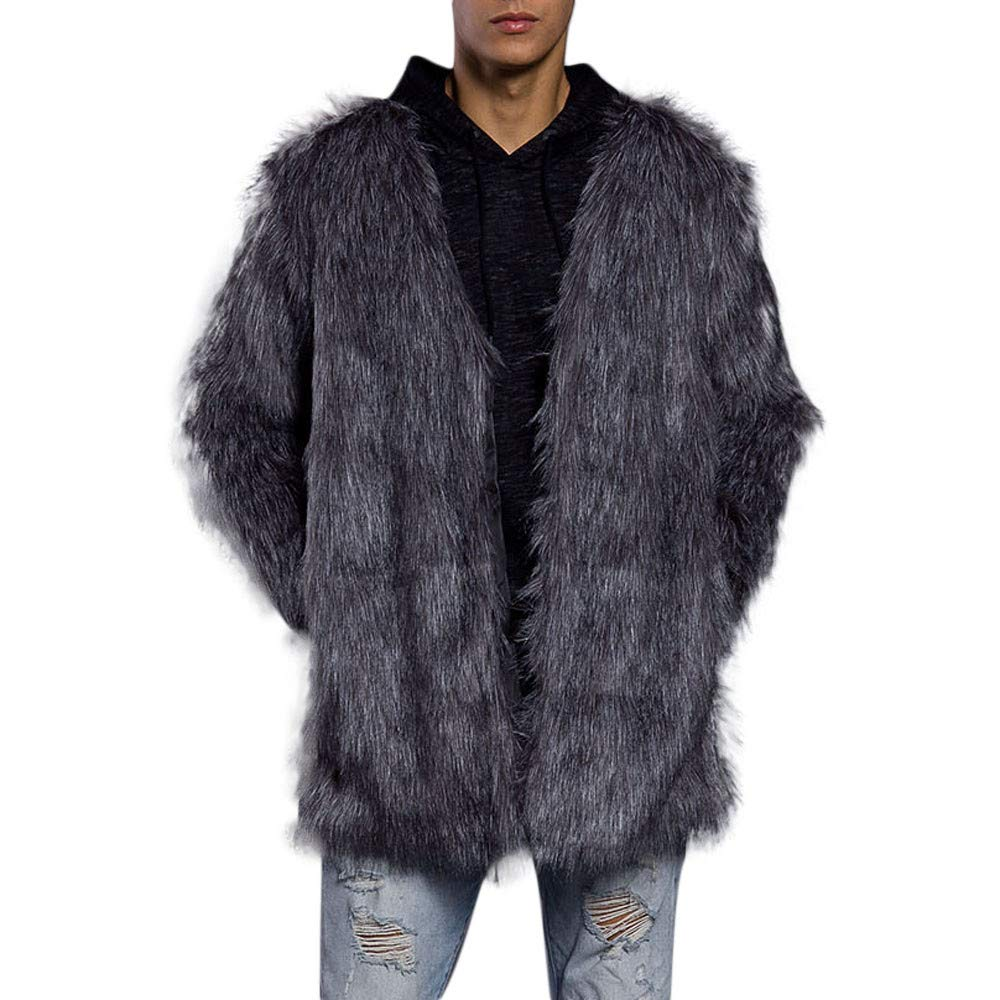 GREFER Fashion Mens Warm Thick Coat Jacket Faux Fur Parka Outwear Cardigan Overcoat by GREFER