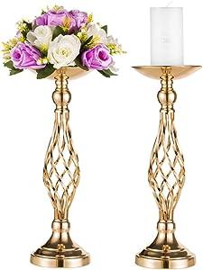 2 Pcs Versatile Metal Flower Arrangement & Candle Holder Stand Set for Wedding Party Dinner Centerpiece Event Restaurant Hotel Decoration (Gold, 2 x S)