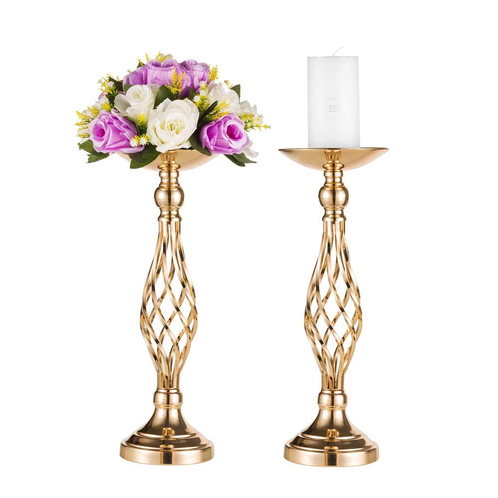 Pcs of 2 Metal Vase for Wedding Centerpieces Decoration-Artificial Flower Arrangement-Pillar Candle Holder Stand Set for Wedding Party Dinner Event Centerpiece Home Decor (Heart Style, 2x45cm H) Fuzhou cangshan