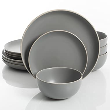 Gibson Home Rockaway 12 Piece Dinnerware Set, Grey