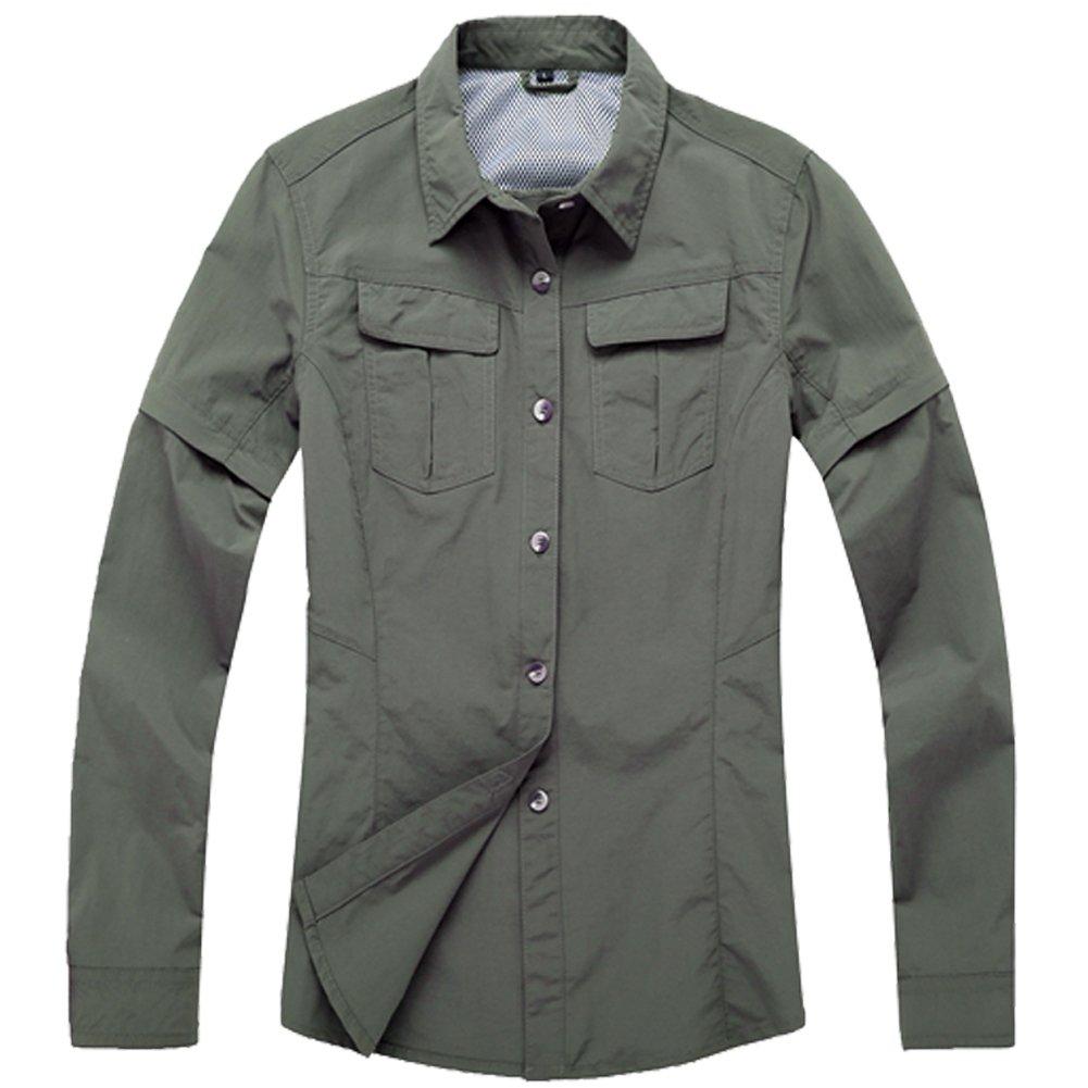 Women's Outdoor UPF 50+ Sun Protection Zip Off Convertible Long-Sleeve Shirt by Toomett