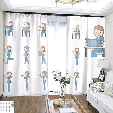 Juego de cortinas de moda para enfermeras EPS10 con formato vol 2 W72 x L72, aislamiento de puerta corredera, cortinas de alta precisión para dormitorios, salas de estar, cocinas, etc.: Amazon.es: Hogar