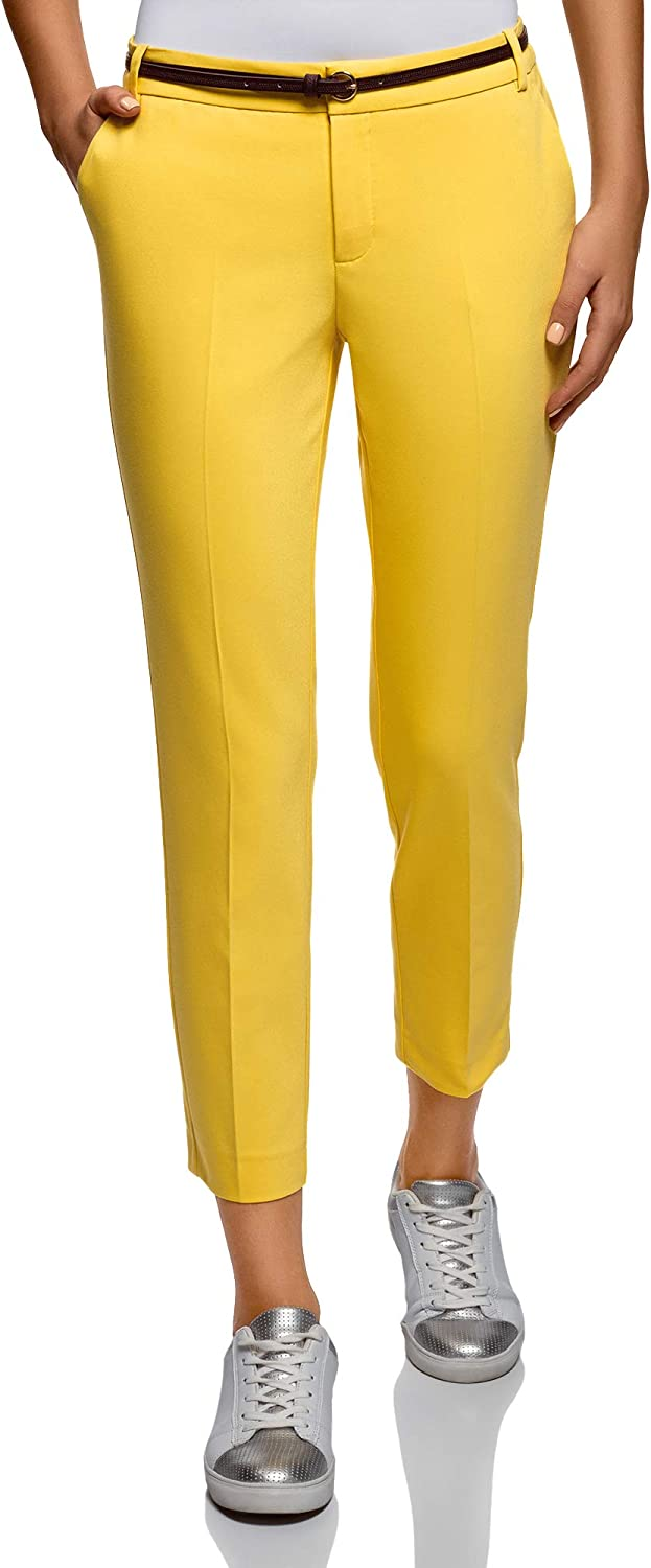 oodji Collection Donna Pantaloni Cropped con Cintura