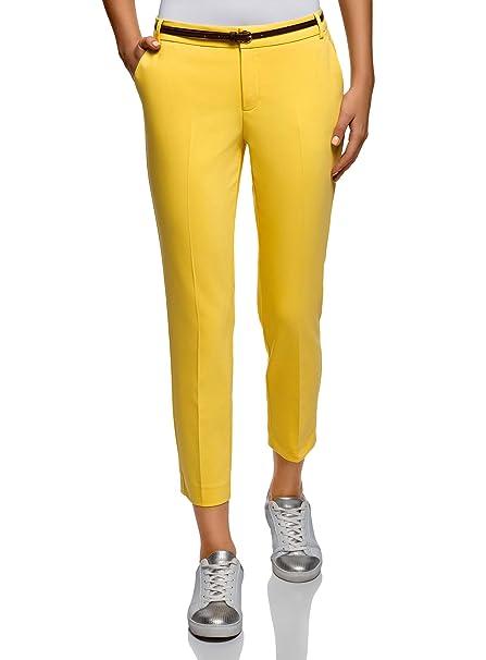 oodji Collection Mujer Pantalones Recortados con Cinturón  Amazon.es  Ropa  y accesorios 467341baedf
