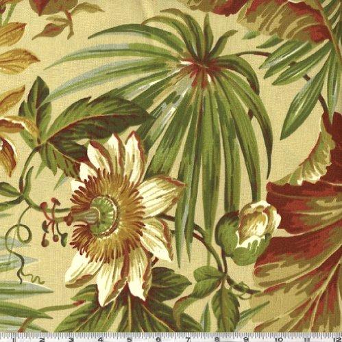 Waverly Sun N Shade St Croix Floral Outdoor, Fabric, Cinnabar, by the Yard