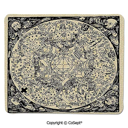 Ergonomic Mouse pad,Series of Ancient Mystic Esoteric Old Map with Man Figures Vintage Symbols Decor,for Laptop,Computer & PC (11.81