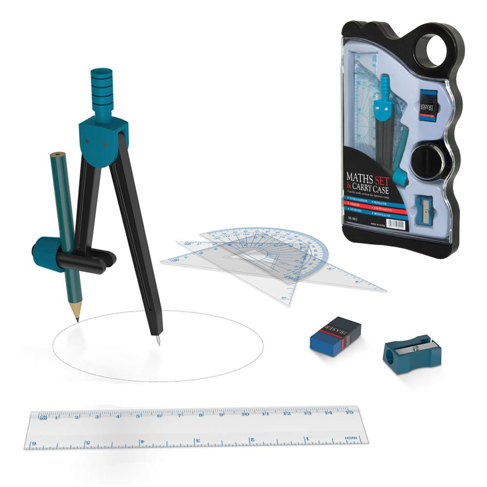 Math Geometry Kit Set 8 Pieces Student Supplies with Shatterproof Storage Box Includes Rulers,Protractor,Compass, Pencil, Pencil Sharpener,and Pencil Eraser for Student (Green)